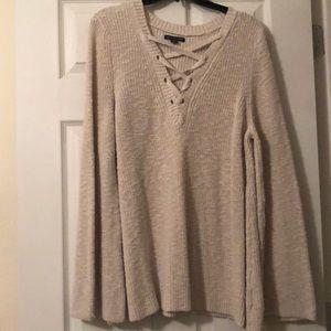 American Eagle Cream Bell Sleeve Sweater